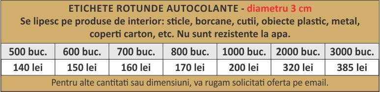 lista preturi etichete rotunde autocolante 3x3cm