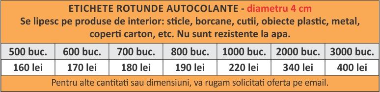 lista preturi etichete rotunde autocolante 4cm