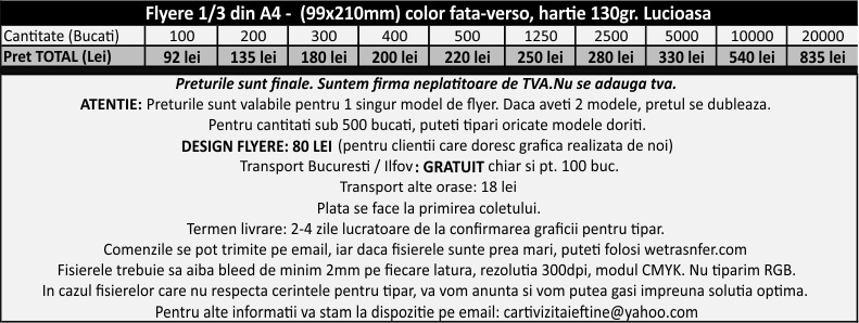 preturi flyere ieftine 21x10cm fluturasi publicitari CDVi
