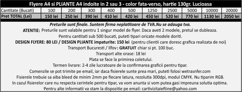 preturi flyere ieftine A4 fluturasi publicitari CDVi