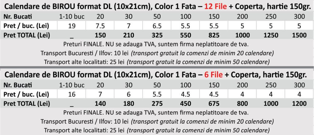 Preturi calendare de birou ieftine format DL 10x20cm - CDVi