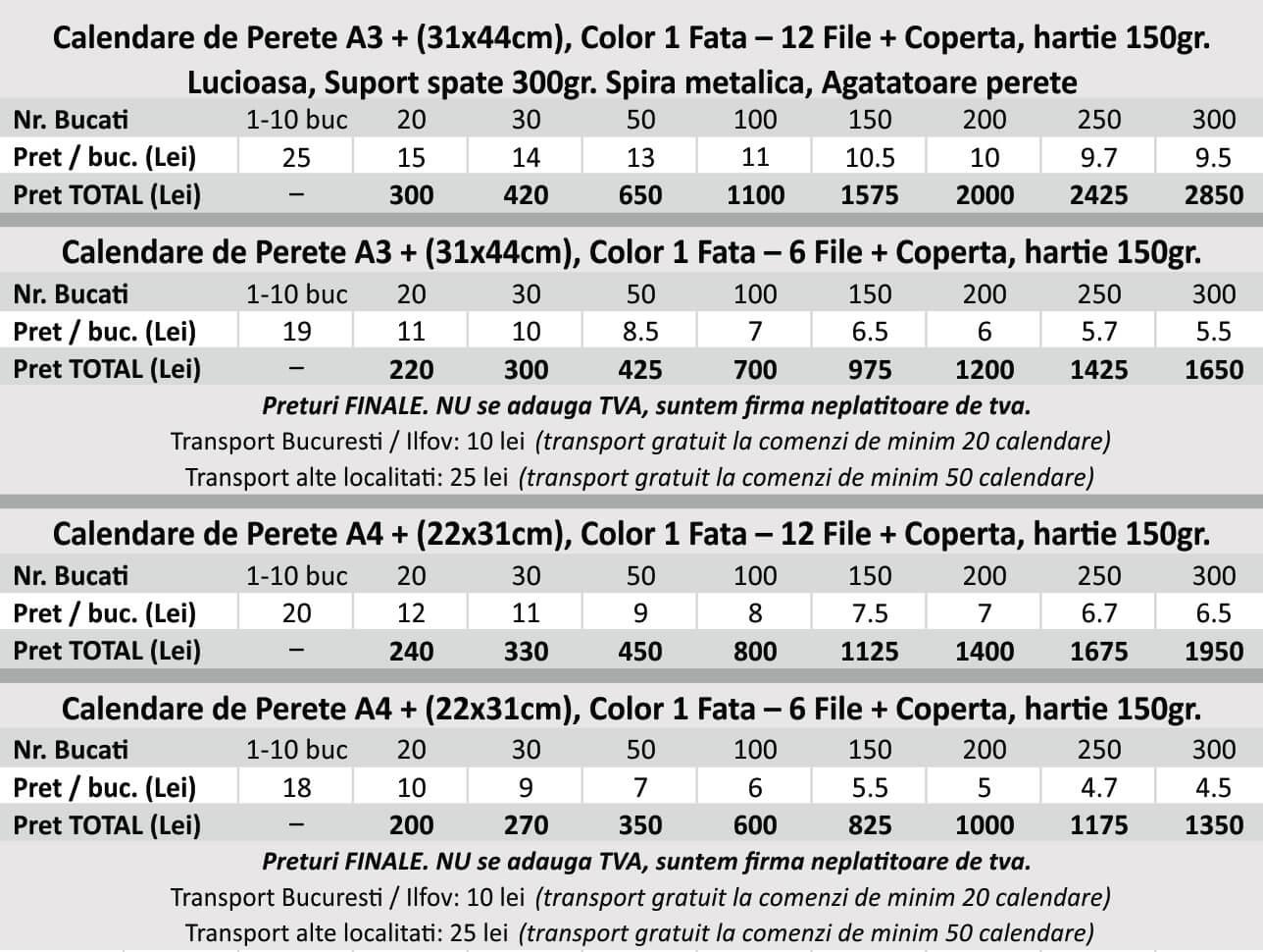 Preturi calendare de perete a3, sra3, a4, sra4 - CDVI_