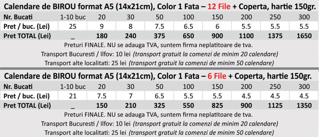 preturi calendare de birou a5 ieftine print color - CDVi