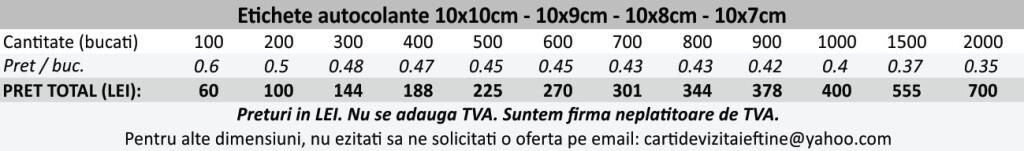 Etichete autocolante autoadezive 10x10cm, 10x9cm, 10x8cm, 10x7cm - CDVi