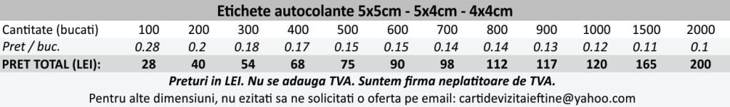Etichete autocolante autoadezive 5x5cm, 5x4cm, 4x4cm - CDVi