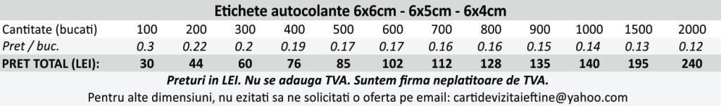 Etichete autocolante autoadezive 6x6cm, 6x5cm, 6x4cm - CDVi
