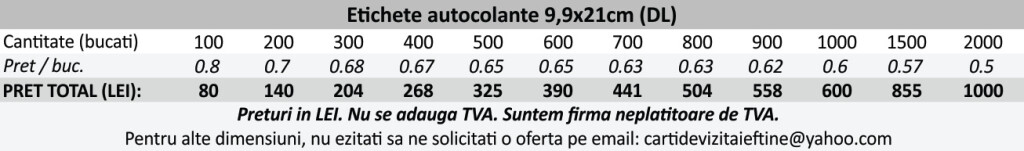 Etichete autocolante autoadezive 9,9cmx21cm, DL, flyer autocolant - CDVi