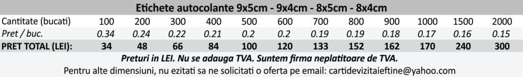 Etichete autocolante autoadezive 9x5cm, 9x4cm, 8x5cm, 8x4cm - CDVi