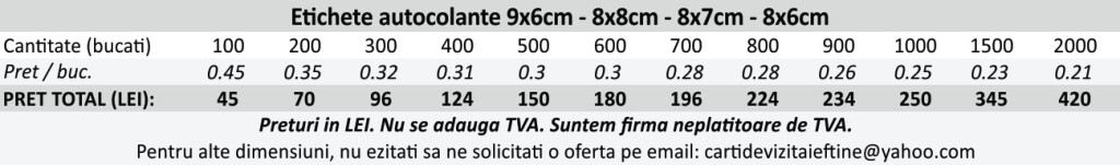 Etichete autocolante autoadezive 9x6cm, 8x8cm, 8x7cm, 8x6cm - CDVi
