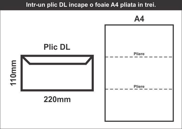 Plic DL in foaie A4 - schita CDVi