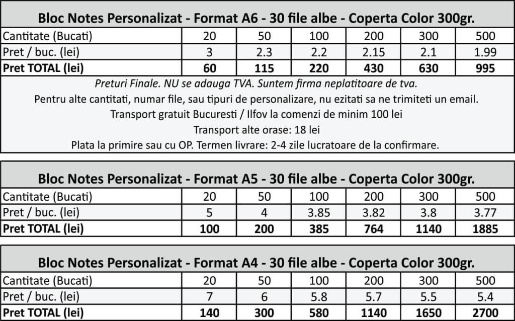 Preturi bloc notes personalizat cu inel metalic CDVi