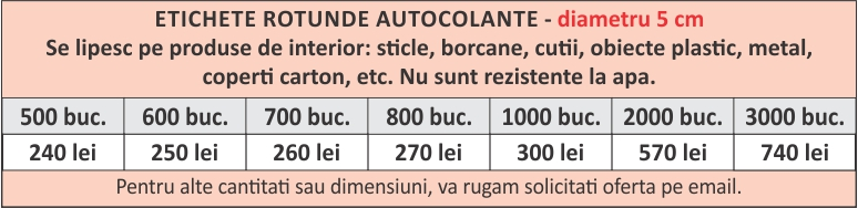 lista preturi etichete rotunde autocolante 5cm