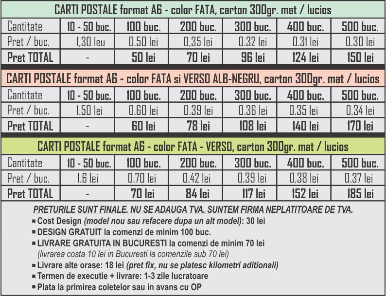 Carti postale personalizate A6 Preturi CDVi