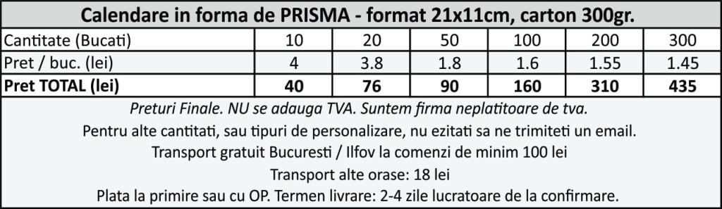Calendare prisma de birou personalizate ieftine CDVi
