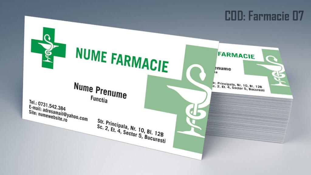 Carti de vizita Farmacie modele online gratis CDVi cod Farmacie 07